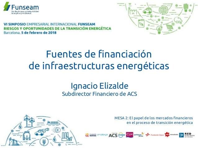 Fuentes de financiación de infraestructuras energéticas Ignacio Elizalde Subdirector Financiero de ACS MESA 2: El papel de...