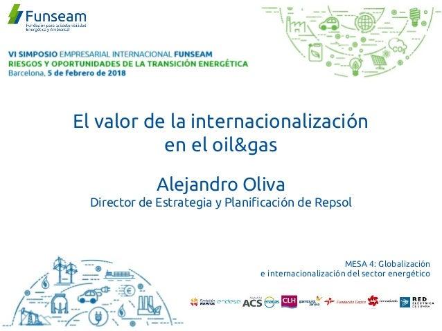 Alejandro Oliva Director de Estrategia y Planificación de Repsol MESA 4: Globalización e internacionalización del sector e...