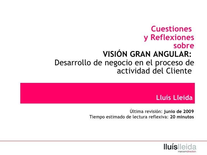 Cuestiones  y  R eflexiones sobre VISIÓN GRAN ANGULAR :  Desarrollo de negocio en el proceso de actividad del Cliente  Llu...