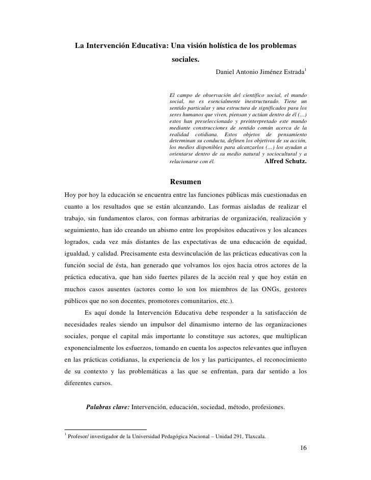 La Intervención Educativa: Una visión holística de los problemas                                                sociales. ...