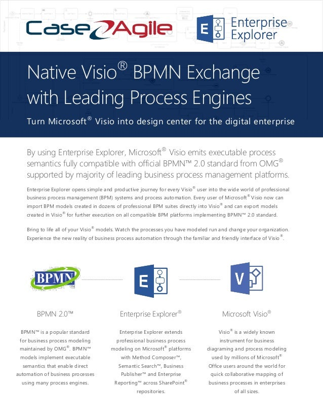 By using Enterprise Explorer, Microsoft® Visio emits executable process semantics fully compatible with official BPMN™ 2.0...