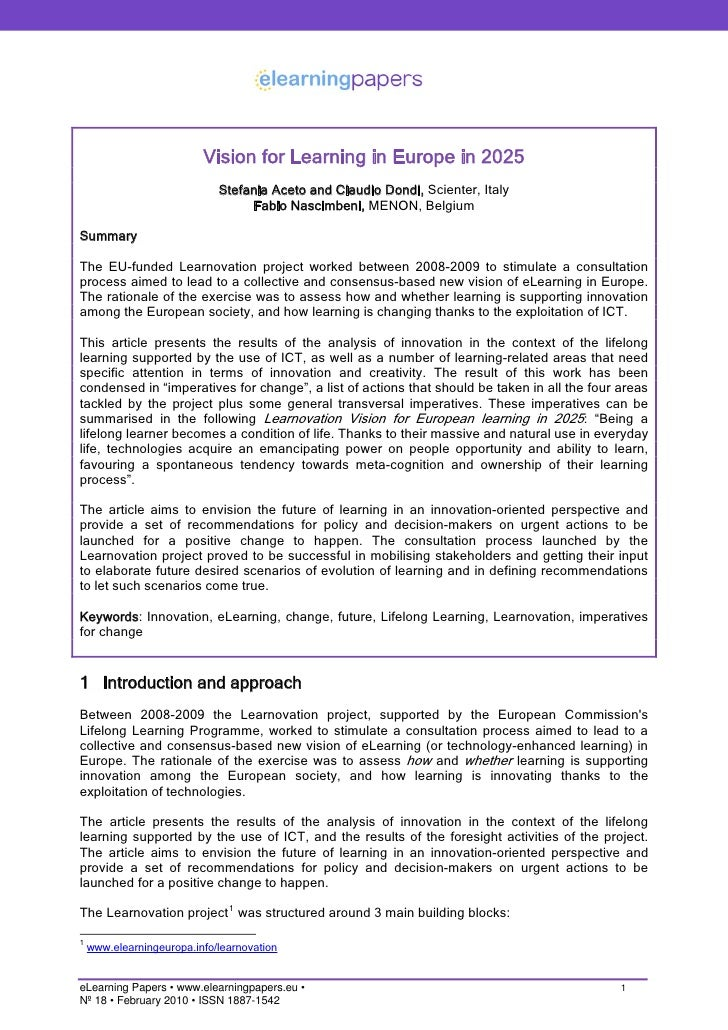 Vision for Learning in Europe in 2025                              Stefania Aceto and Claudio Dondi, Scienter, Italy      ...