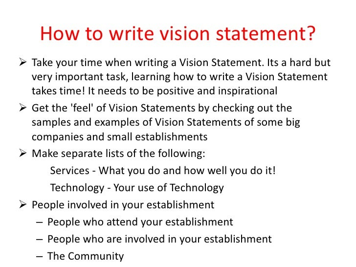 writing a vision statement for business