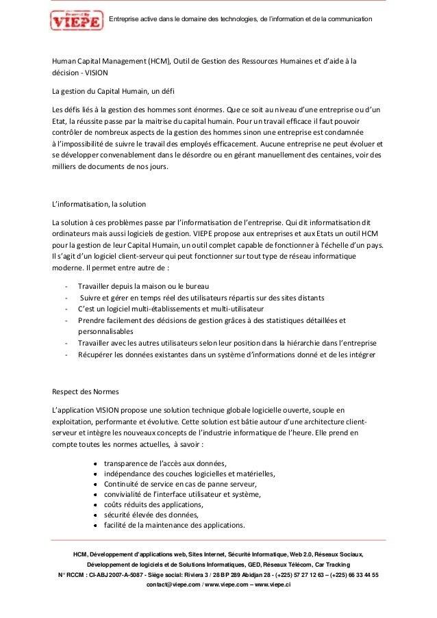 Entreprise active dans le domaine des technologies, de l'information et de la communication HCM, Développement d'applicati...