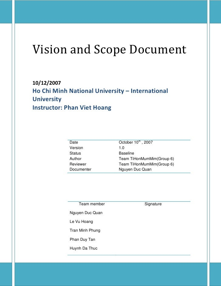 sample scope document template - vision and scope document