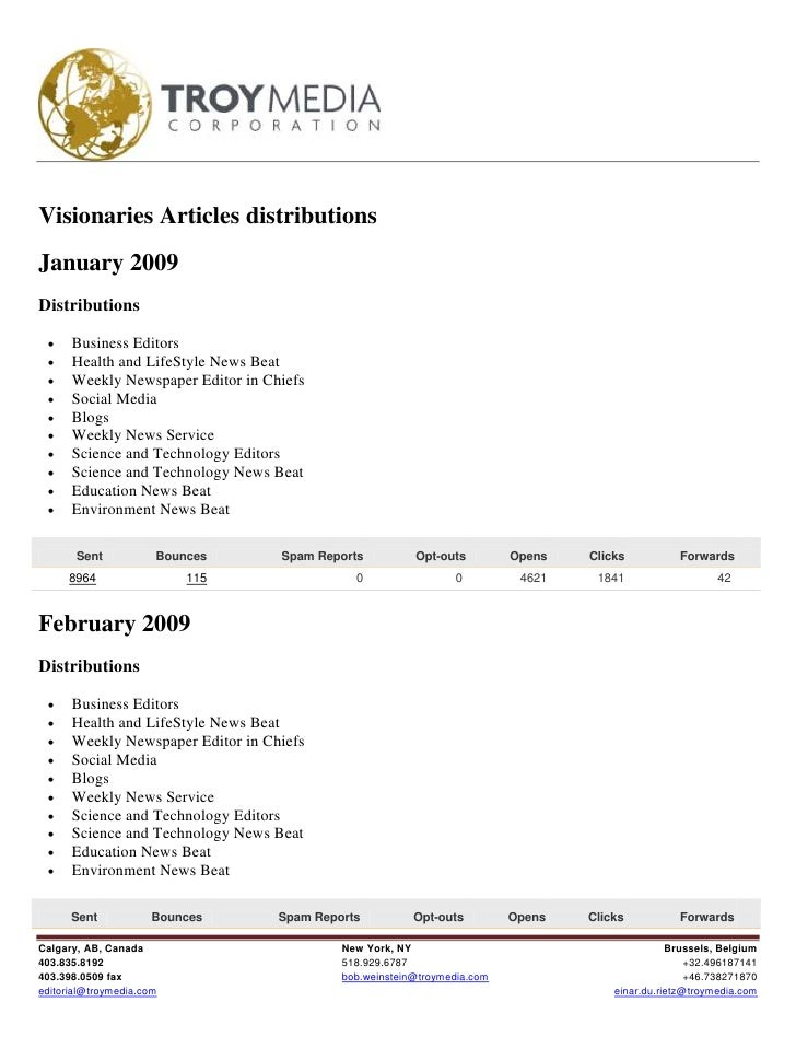 Visionaries Articles distributions January 2009 Distributions       Business Editors      Health and LifeStyle News Beat...