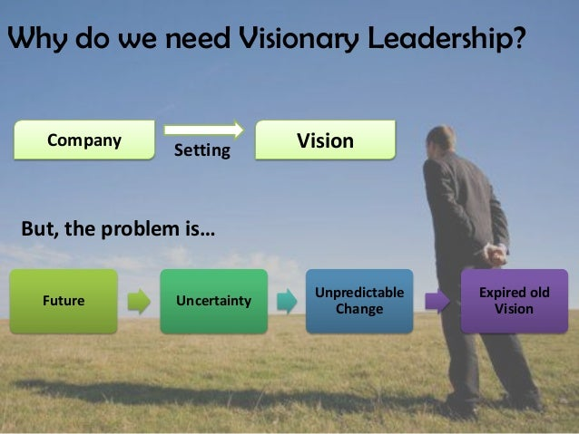 visionary leadership Visionary leaders look past the here and now toward a sustainable long-term plan.