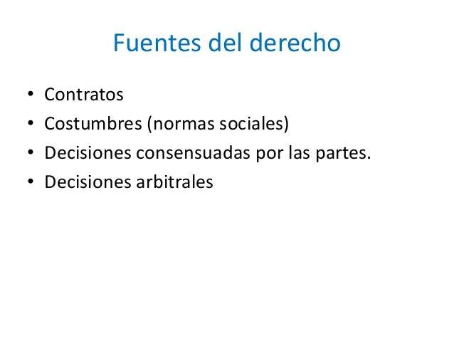 Fuentes del derecho • Contratos • Costumbres (normas sociales) • Decisiones consensuadas por las partes. • Decisiones arbi...