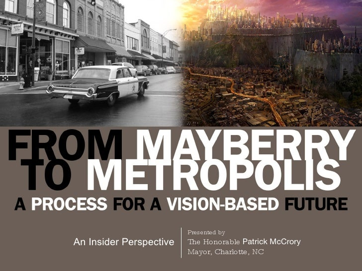 Presented by An Insider Perspective The Honorable  Patrick McCrory Mayor, Charlotte, NC