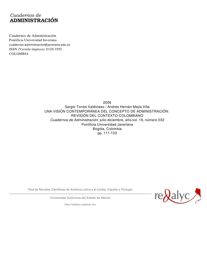 Cuadernos de Administración Pontificia Universidad Javeriana cuadernos.administración@javeriana.edu.co ISSN (Versión impre...