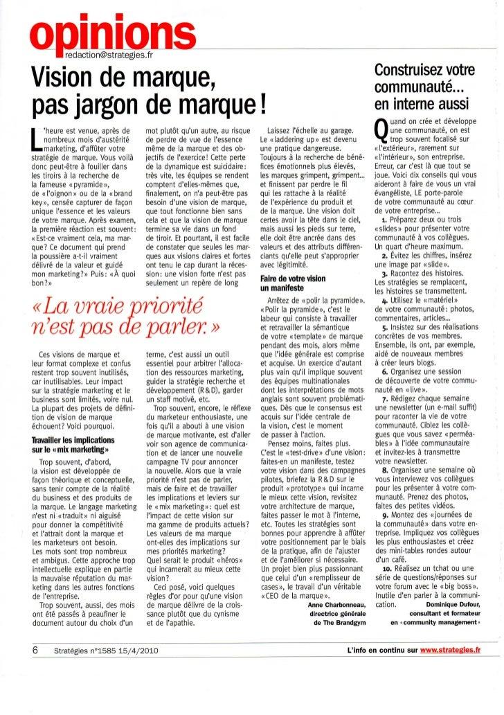 Vision de marque, pas jargon de marque! Article in FRENCH   strategies