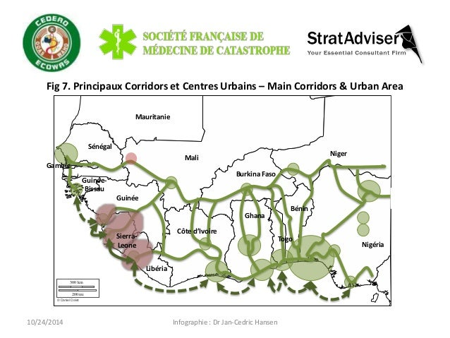 Fig 7. Principaux Corridors et Centres Urbains – Main Corridors & Urban Area  Infographie : Dr Jan-Cedric Hansen  300 km  ...