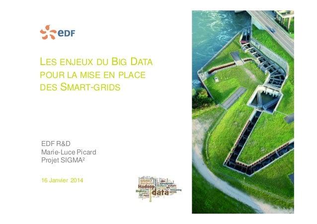 LES ENJEUX DU BIG DATA POUR LA MISE EN PLACE DES SMART-GRIDS EDF R&D Marie-Luce Picard Projet SIGMA² 16 Janvier 2014
