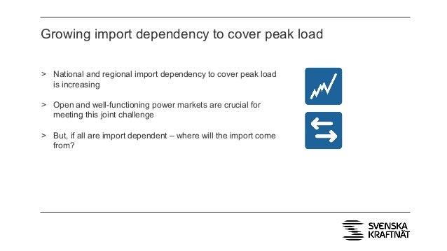 Growing import dependency to cover peak load > National and regional import dependency to cover peak load is increasing > ...