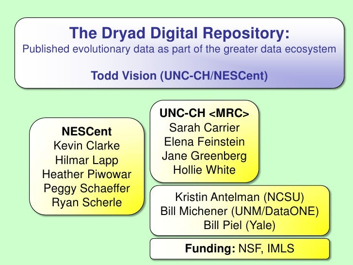 The Dryad Digital Repository:Published evolutionary data as part of the greater data ecosystem<br />Todd Vision (UNC-CH/NE...