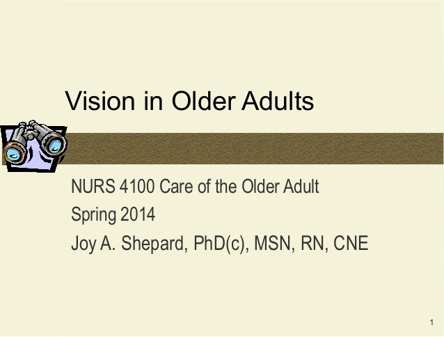 Vision in Older Adults NURS 4100 Care of the Older Adult Spring 2014  Joy A. Shepard, PhD(c), MSN, RN, CNE  1