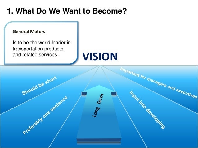 mission and vision statement of general motors Michael james manley  keeping with its mission statement and values each vision within the organization defines its mission  general motors has a new mission .