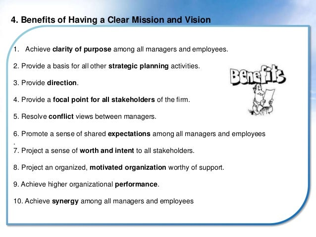 Benefits of mission and vision statements