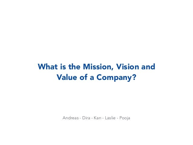 Andreas - Dira - Kan - Laslie - Pooja What is the Mission, Vision and Value of a Company?