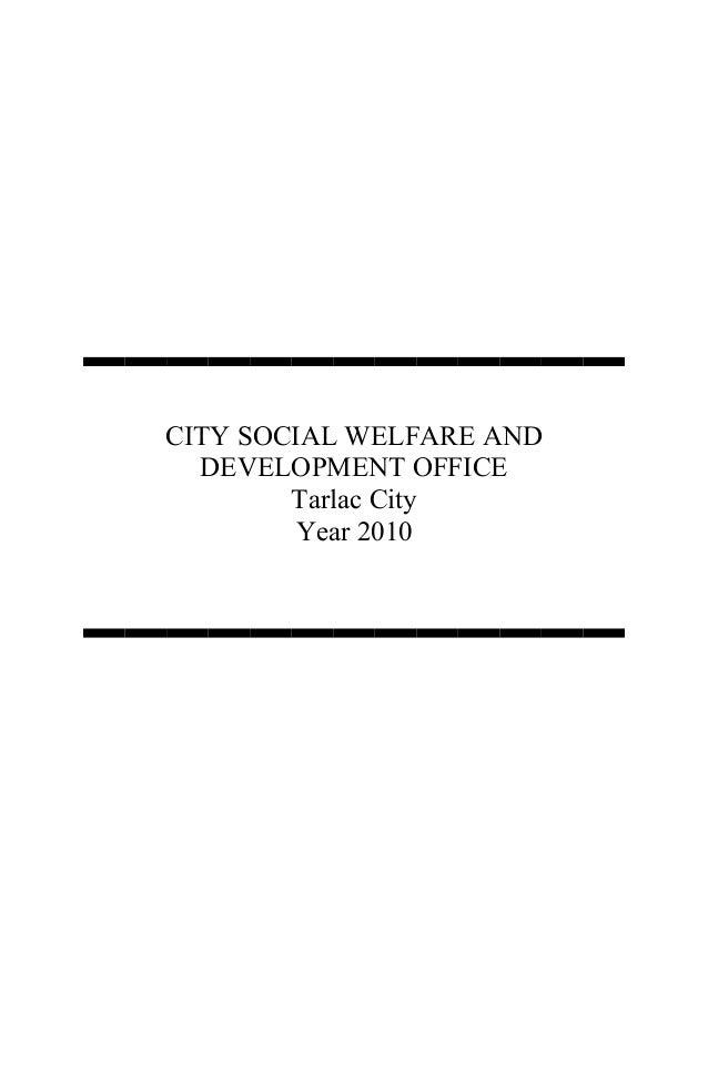 CITY SOCIAL WELFARE AND DEVELOPMENT OFFICE Tarlac City Year 2010
