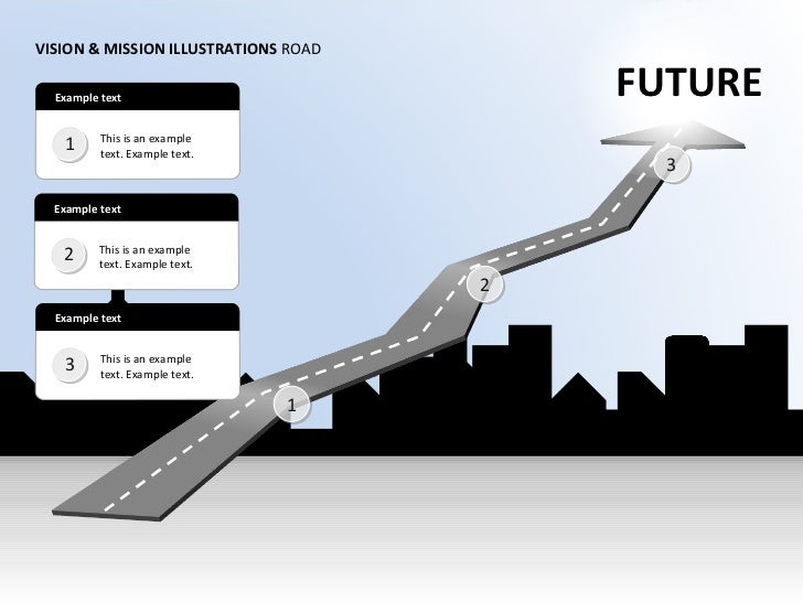 FUTURE VISION & MISSION ILLUSTRATIONS  ROAD Example text 1 This is an example text. Example text.  1 2 Example text 2 This...
