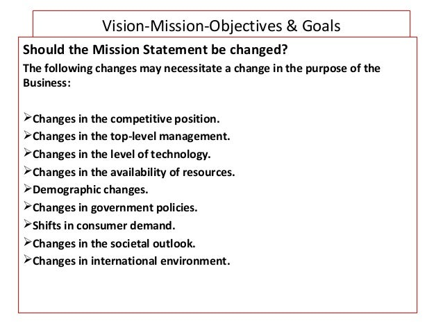 vision mission goals objectives examples