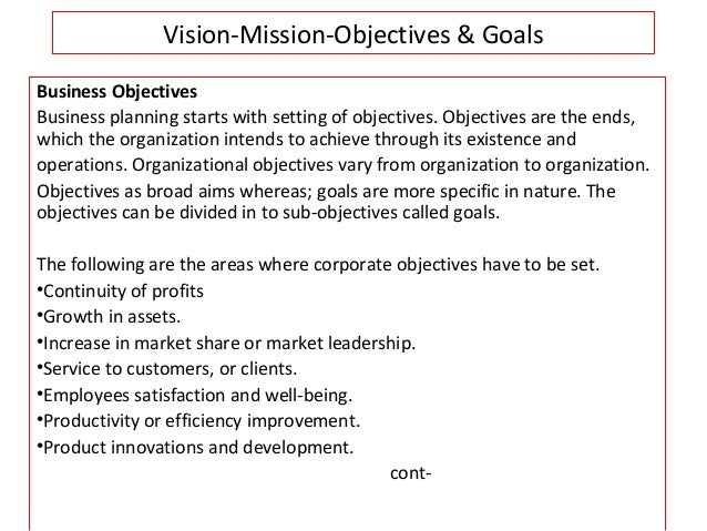 Vision mission objectives goals for Company goals and objectives template