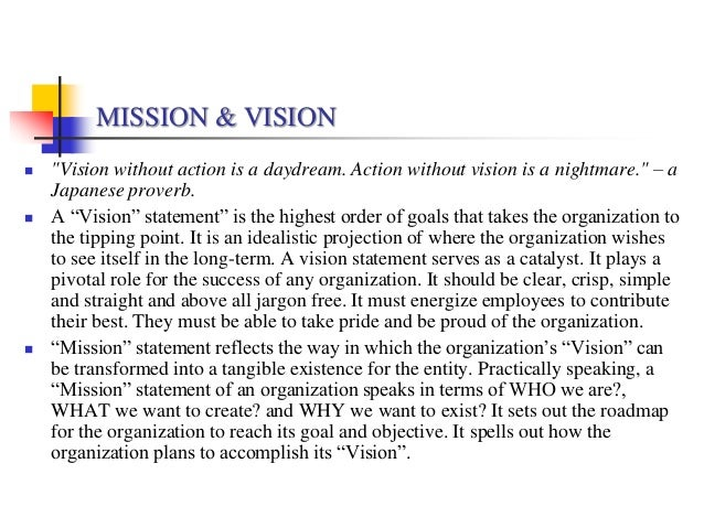 Vision  Mission Statements Of Selected Fmcg Organizations