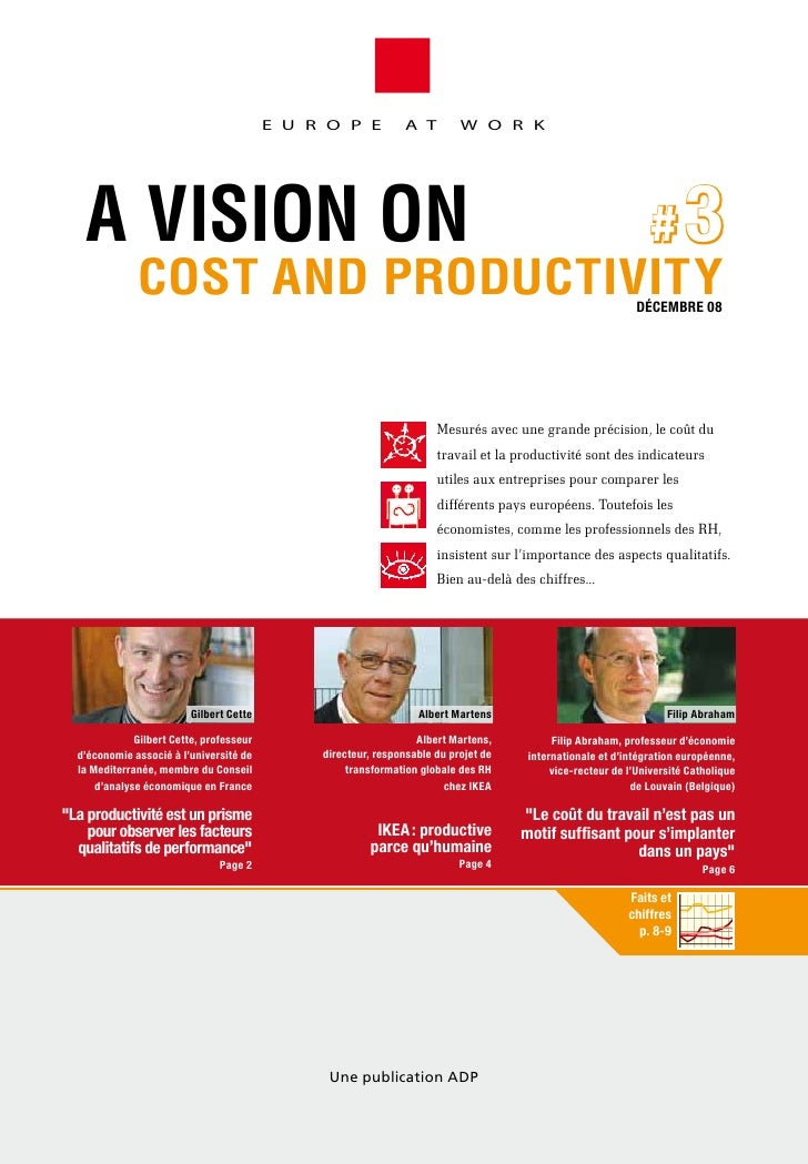 E U R O P E           A T        W O R K        A VISION ON                  #3               COST AND PRODUCTIVITY       ...