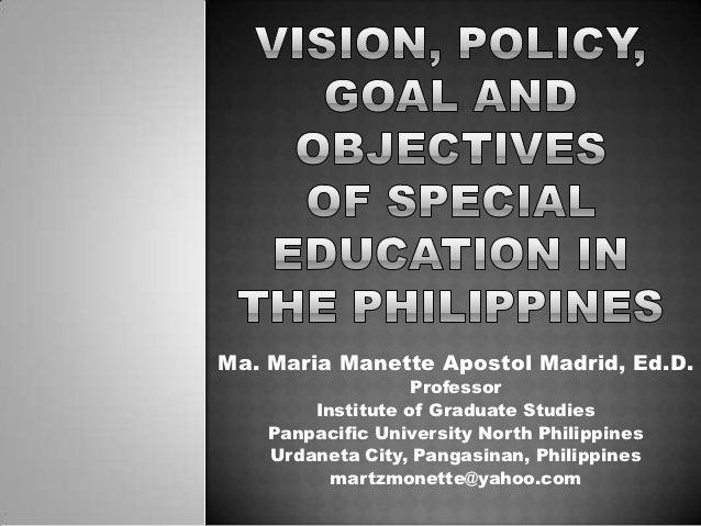 Ma. Maria Manette Apostol Madrid, Ed.D.                   Professor        Institute of Graduate Studies    Panpacific Uni...