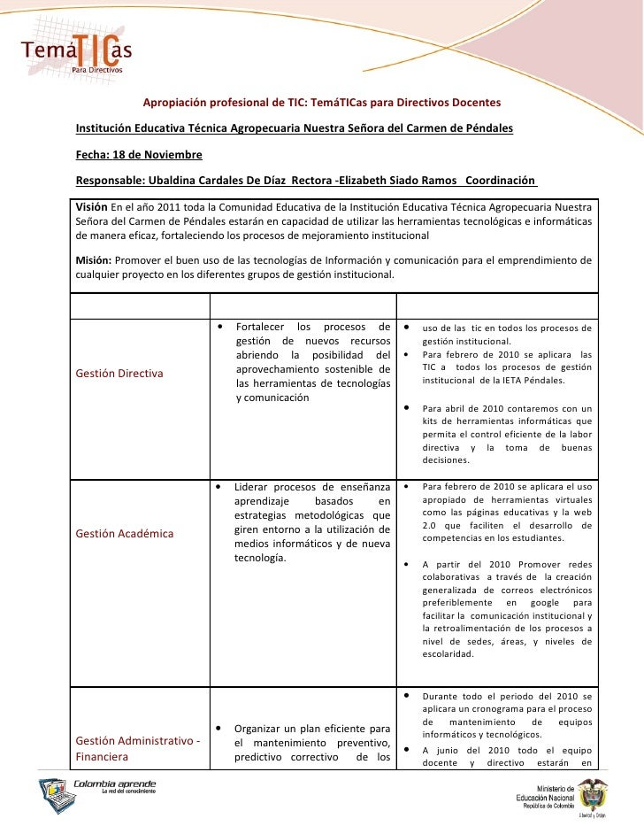 Institución Educativa Técnica Agropecuaria Nuestra Señora Del Carmen De Los Péndales Limite-Socavon <br />