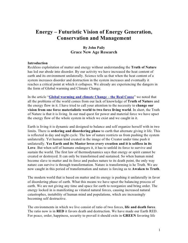 Energy – Futuristic Vision of Energy Generation,              Conservation and Management                                 ...