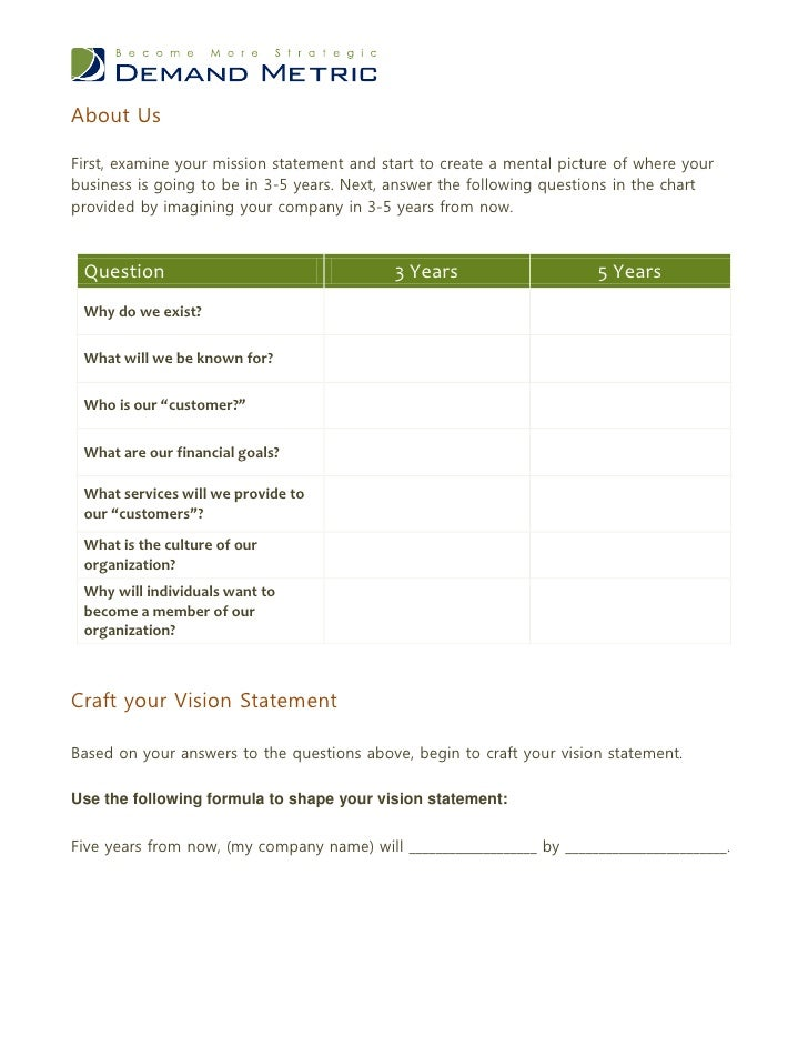 Vision Statement Worksheet
