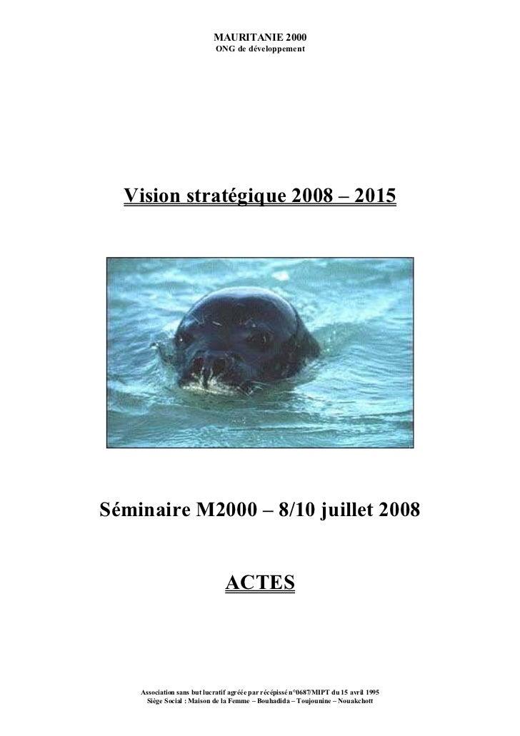 MAURITANIE 2000                            ONG de développement  Vision stratégique 2008 – 2015Séminaire M2000 – 8/10 juil...
