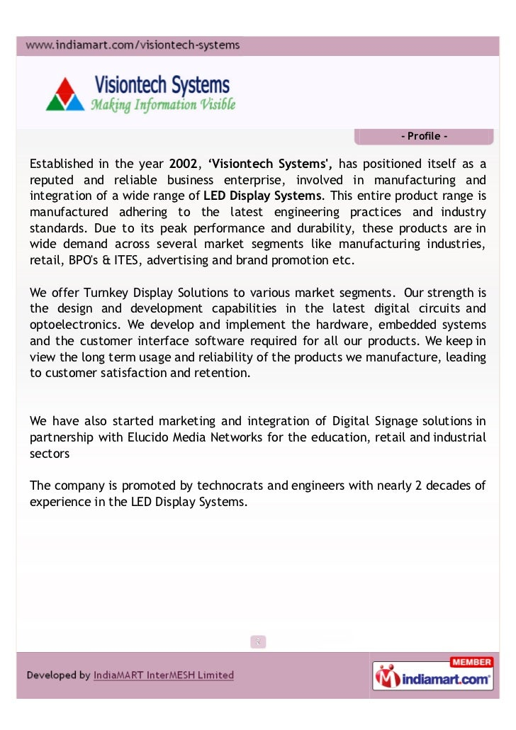 - Profile -Established in the year 2002, 'Visiontech Systems, has positioned itself as areputed and reliable business ente...