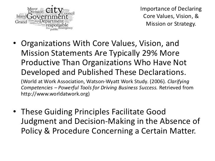 How A Vision Statement, Statement Of Core Values, And A Mission State…