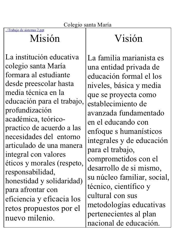Colegio santa María..Trabajo de sistemas 2.ppt                 Misión                              VisiónLa institución ed...