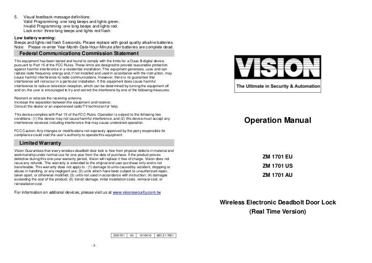 vision zm1701 manual rh slideshare net Operations Manual Template for Word User Manual