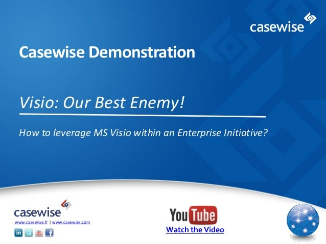 © 2014 Casewise Systems Ltd Casewise Demonstration Visio: Our Best Enemy! How to leverage MS Visio within an Enterprise In...