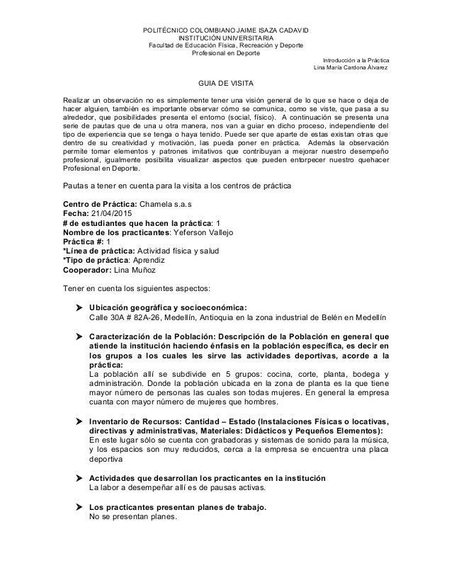 POLITÉCNICO COLOMBIANO JAIME ISAZA CADAVID INSTITUCIÓN UNIVERSITARIA Facultad de Educación Física, Recreación y Deporte Pr...