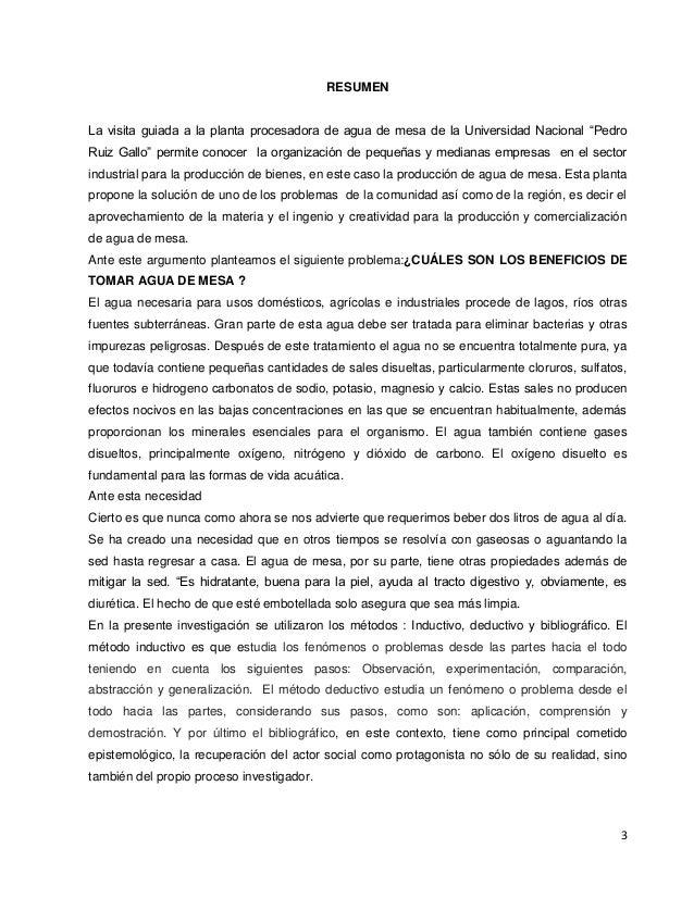 """3 RESUMEN La visita guiada a la planta procesadora de agua de mesa de la Universidad Nacional """"Pedro Ruiz Gallo"""" permite c..."""