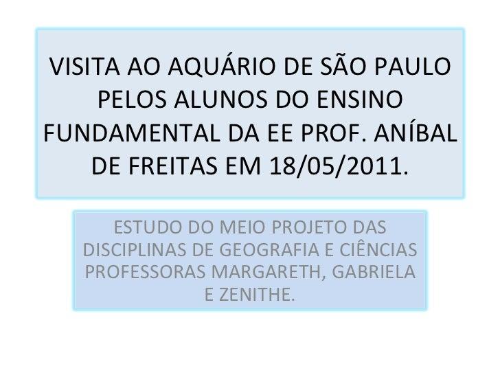 VISITA AO AQUÁRIO DE SÃO PAULO PELOS ALUNOS DO ENSINO FUNDAMENTAL DA EE PROF. ANÍBAL DE FREITAS EM 18/05/2011. ESTUDO DO M...