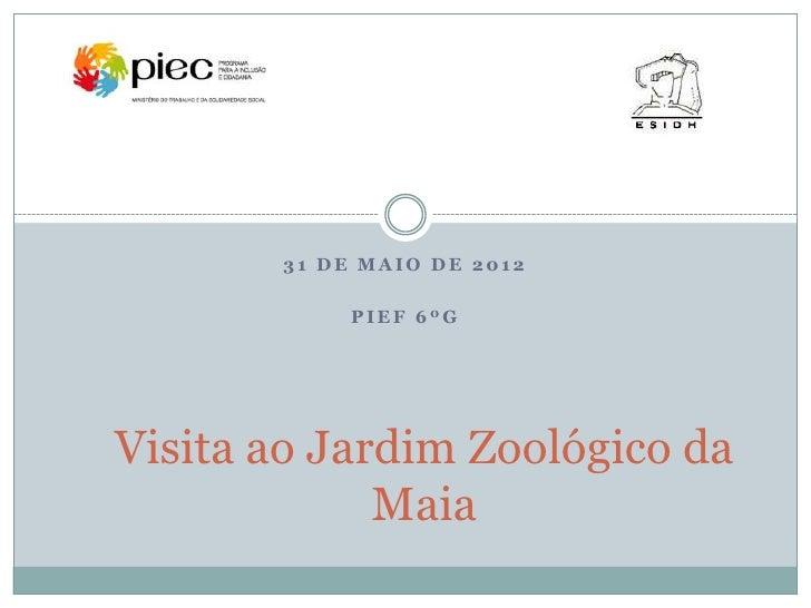 31 DE MAIO DE 2012            PIEF 6ºGVisita ao Jardim Zoológico da             Maia