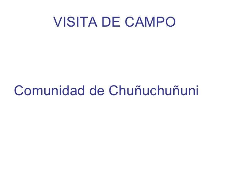 VISITA DE CAMPOComunidad de Chuñuchuñuni