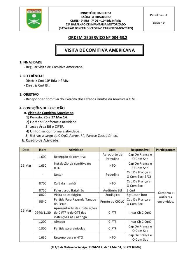 (Fl 1/3 da Ordem de Serviço nº 004-S3.2, de 17 Mar 14, do 72º BI Mtz) MINISTÉRIO DA DEFESA EXÉRCITO BRASILEIRO CMNE - 7ª R...