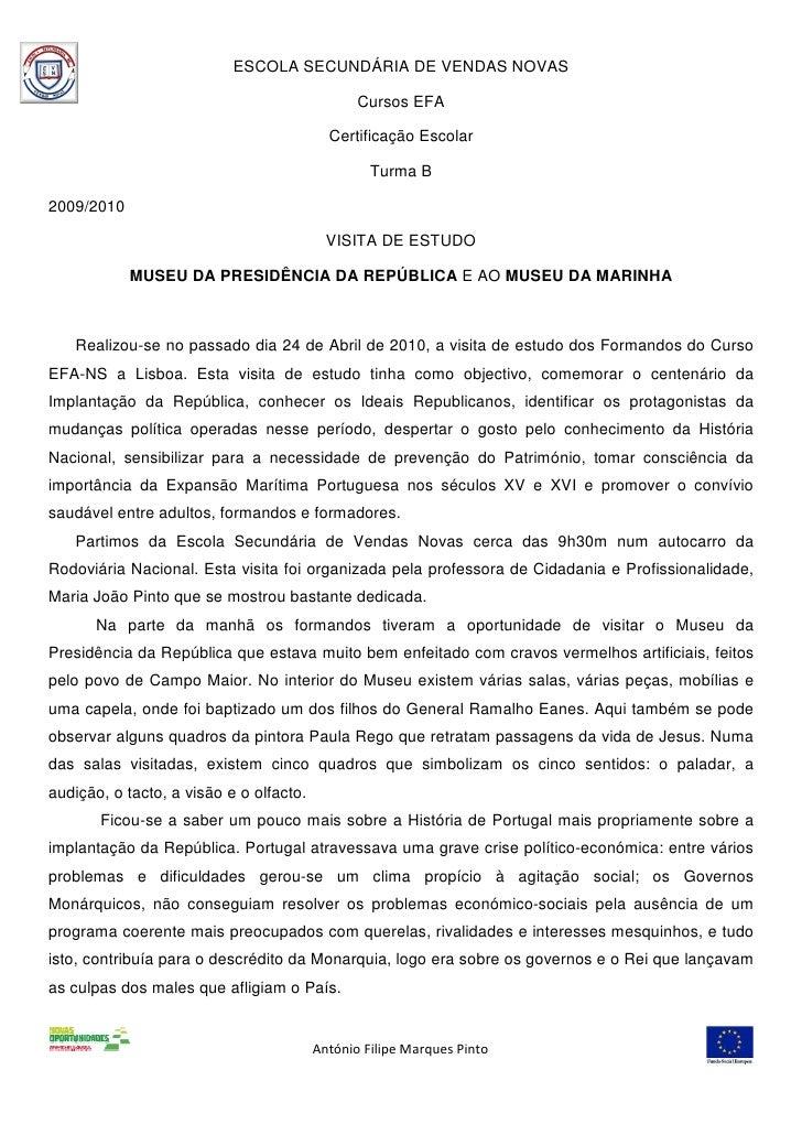 ESCOLA SECUNDÁRIA DE VENDAS NOVAS                                                  Cursos EFA                             ...