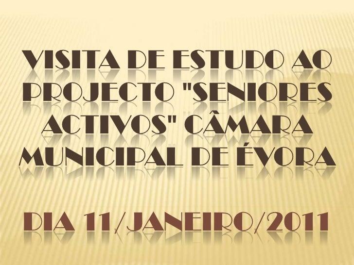 "Visita de Estudo ao Projecto ""Seniores Activos"" Câmara Municipal de ÉvoraDia 11/janeiro/2011<br />"