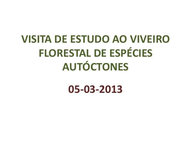 VISITA DE ESTUDO AO VIVEIRO    FLORESTAL DE ESPÉCIES        AUTÓCTONES        05-03-2013