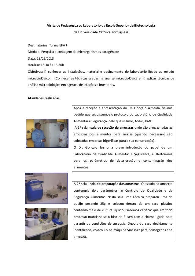 Visita de Pedagógica ao Laboratório da Escola Superior de Biotecnologiada Universidade Católica PortuguesaDestinatários: T...