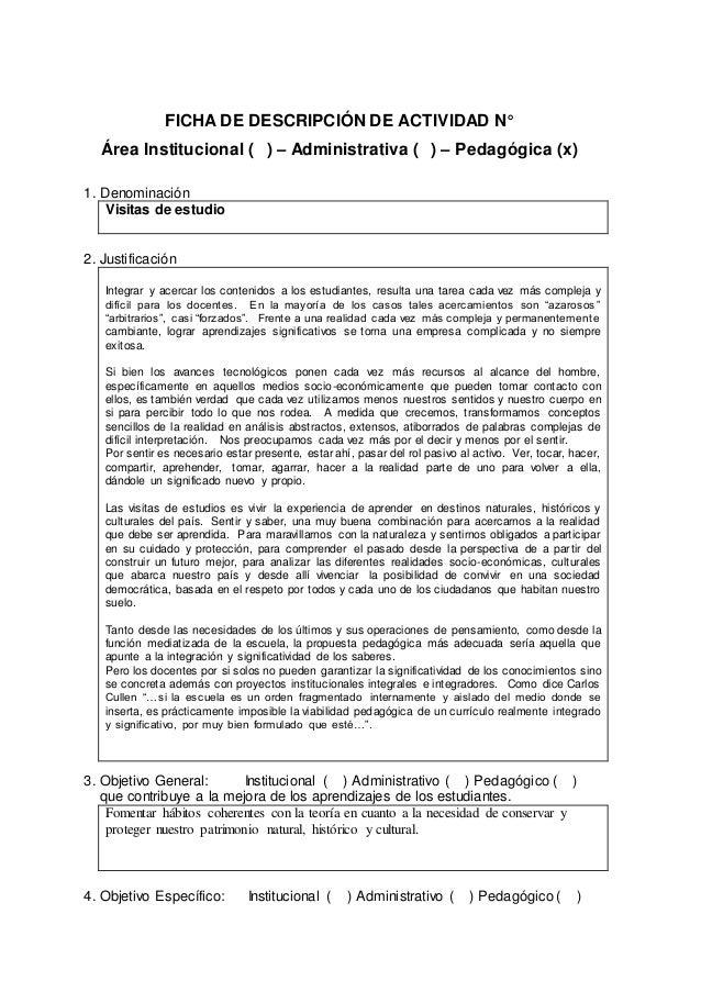 FICHA DE DESCRIPCIÓN DE ACTIVIDAD N° Área Institucional ( ) – Administrativa ( ) – Pedagógica (x) 1. Denominación Visitas ...